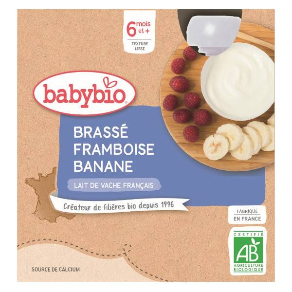 Babybio Desserts Lactés Gourde Brassé Framboise Banane +6m Bio 4 x 85g