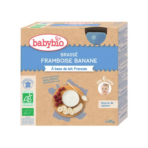 Babybio Gourdes Lactées Mes Brassés Framboise Banane dès 6 mois 4 x 85g