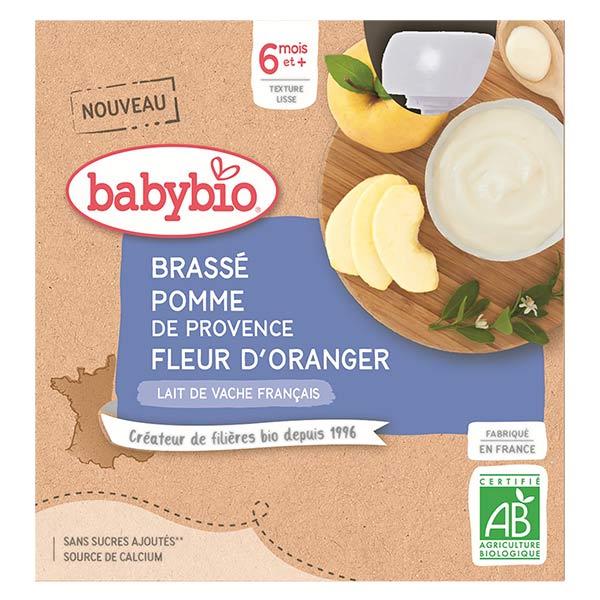 Babybio Desserts Lactés Gourde Brassé Lait de Vache Pomme de Provence Fleur d'Oranger +6m Bio 4 x 85g