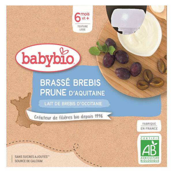 Babybio Desserts Lactés Gourde Brassé Lait de Brebis Prune +6m Bio 4 x 85g