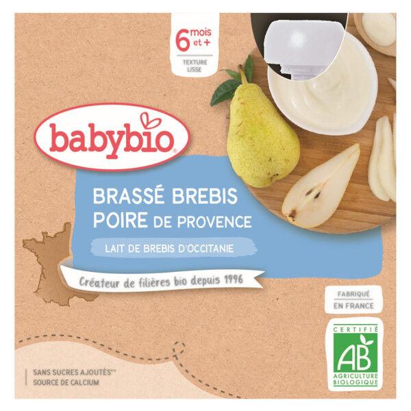 Babybio Desserts Lactés Gourde Brassé Lait de Brebis Poire +6m Bio 4 x 85g