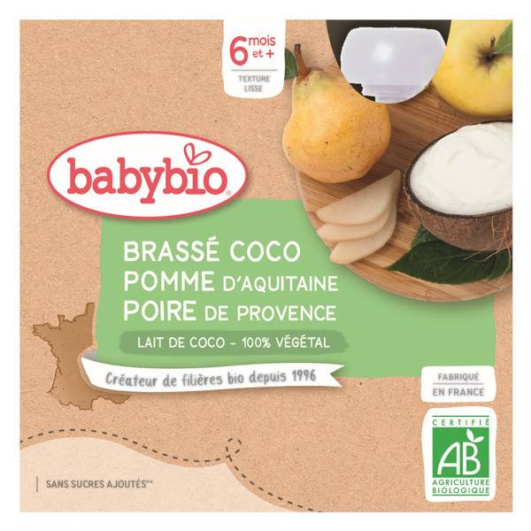Babybio Desserts Végétaux Gourde Brassé Lait de Coco Pomme Poire +6m Bio 4 x 85g