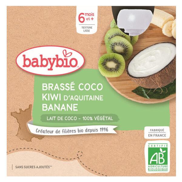 Babybio Desserts Végétaux Gourde Brassé Lait de Coco Kiwi Banane +6m Bio 4 x 85g