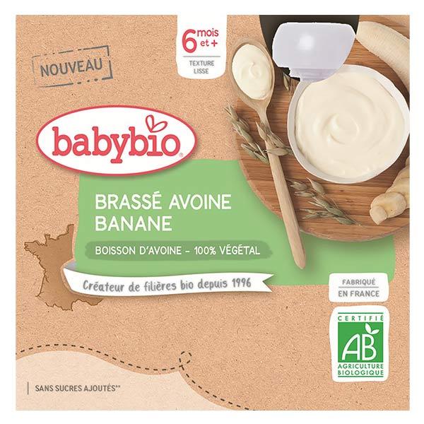 Babybio Desserts Végétaux Gourde Brassé Lait d'Avoine Banane +6m Bio 4 x 85g