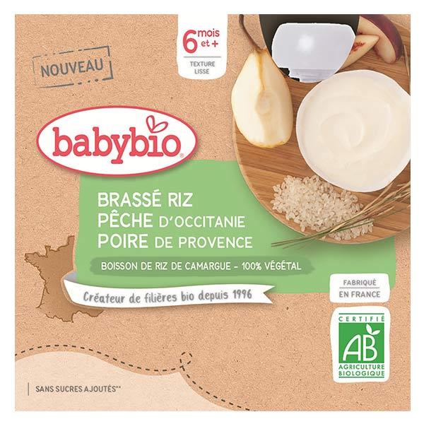 Babybio Mes Brassés Gourde Lactée au Lait de Riz Pêche Poire +6m Bio 4 x 85g