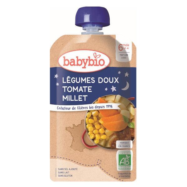 Babybio Bonne Nuit Gourde Légumes Doux Tomate Millet +6m Bio 120g