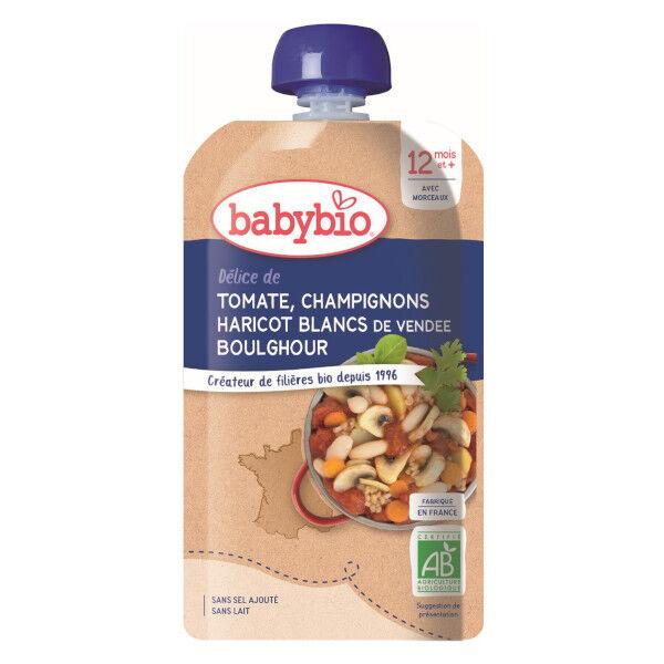 Babybio Repas Soir Gourde Légumes Tomate Champignon Haricots Blancs Boulghour +12m Bio 180g