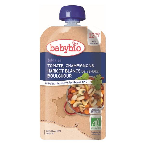 Babybio Bonne Nuit Gourde Légumes Tomate Champignon Haricots Blanc Boulghour dès 12 mois 180g