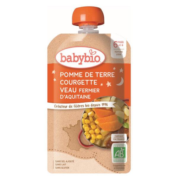 Babybio Menu du Jour Gourde Pomme de Terre Courgette Veau dès 6 mois 120g