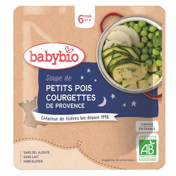 Babybio Bonne Nuit Sachet Soupe Petits Pois Courgette +6m Bio 190g