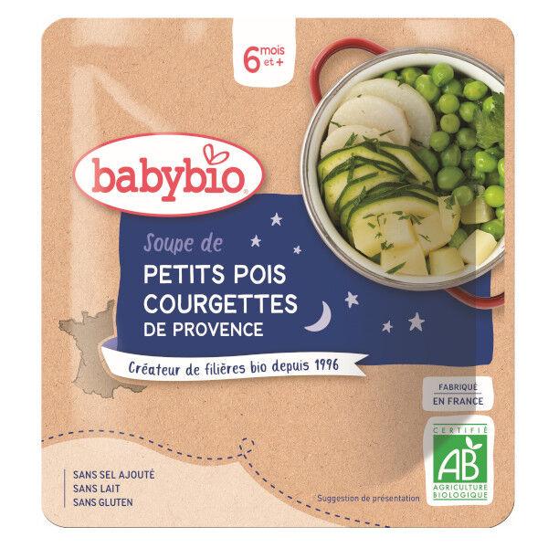 Babybio Repas Soir Sachet Soupe Petits Pois Courgette +6m Bio 190g