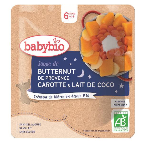 Babybio Bonne Nuit Poche Soupe Butternut Carotte Lait de Coco dès 6 mois 190g