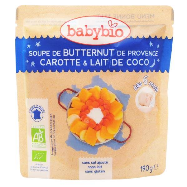 Babybio Repas Soir Sachet Soupe Butternut Carotte Lait de Coco +6m Bio 190g