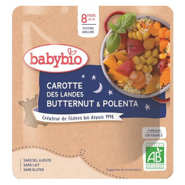 Babybio Repas Soir Sachet Carotte Courge Butternut Polenta +8m Bio 190g