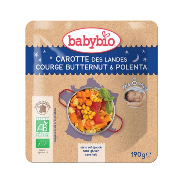Babybio Bonne Nuit Poche Carotte Courge Butternut Polenta dès 8 mois 190g