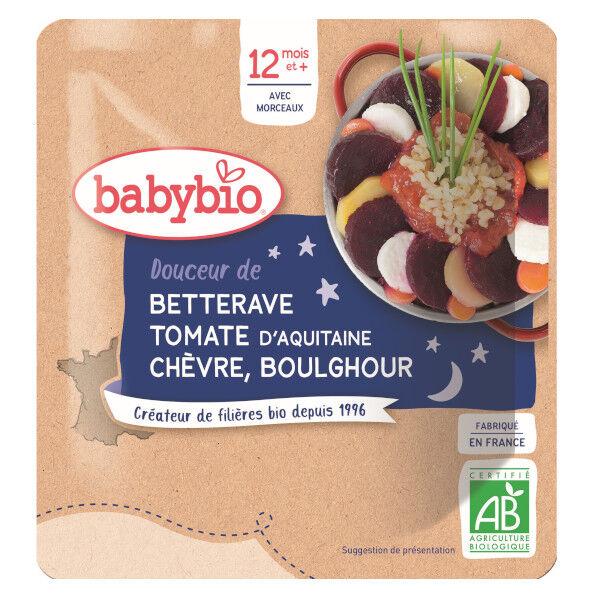 Babybio Bonne Nuit Sachet Betterave Tomate Chèvre Boulghour +12m Bio 190g