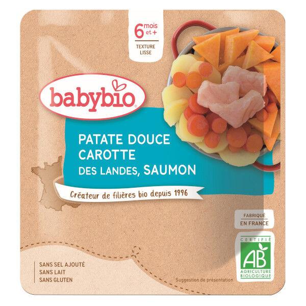 Babybio Repas Midi Sachet Patate Douce Carotte Saumon +6m Bio 190g