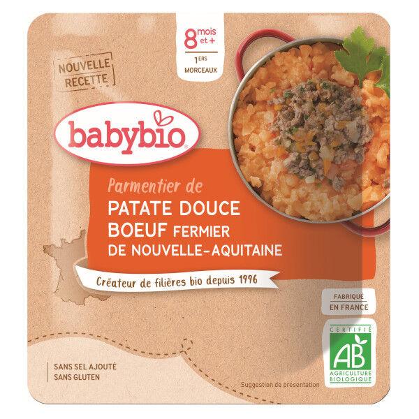 Babybio Repas Midi Sachet Parmentier de Patate Douce et Bœuf +8m Bio 190g