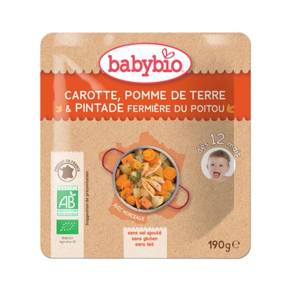 Babybio Menu du Jour Poche Carotte Pomme de Terre Pintade dès 12 mois 190g