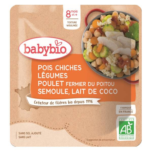 Babybio Menu du Jour Sachet Pois Chiches Légumes Poulet Fermier Semoule et Lait de Coco +8m Bio 190g