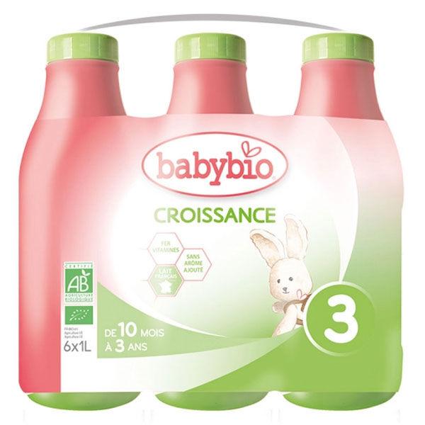 Babybio Lait Croissance Lait de Vache 3ème Âge Bio Lot de 6 x 1L