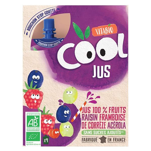 Vitabio Cool Jus Raisin Framboise Acérola Bio Lot de 4 x 105ml