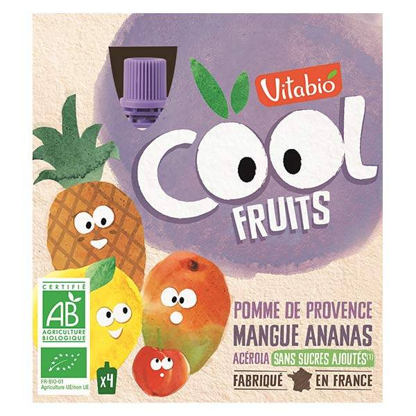 Vitabio Cool Fruits Pomme Mangue Ananas Acérola Bio Lot de 4 x 90g