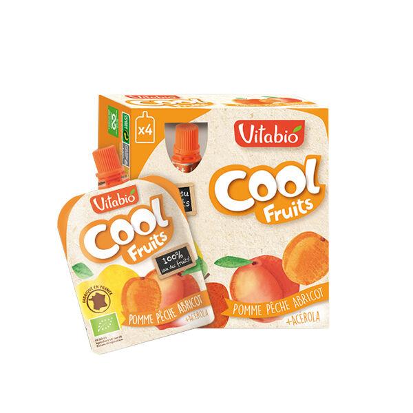 Vitabio Cool Fruits Pomme Pêche Abricot + Acérola 4 x 90g