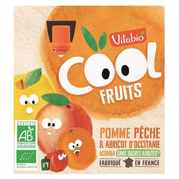 Vitabio Cool Fruits Pomme Pêche Abricot Acérola Bio Lot de 4 x 90g