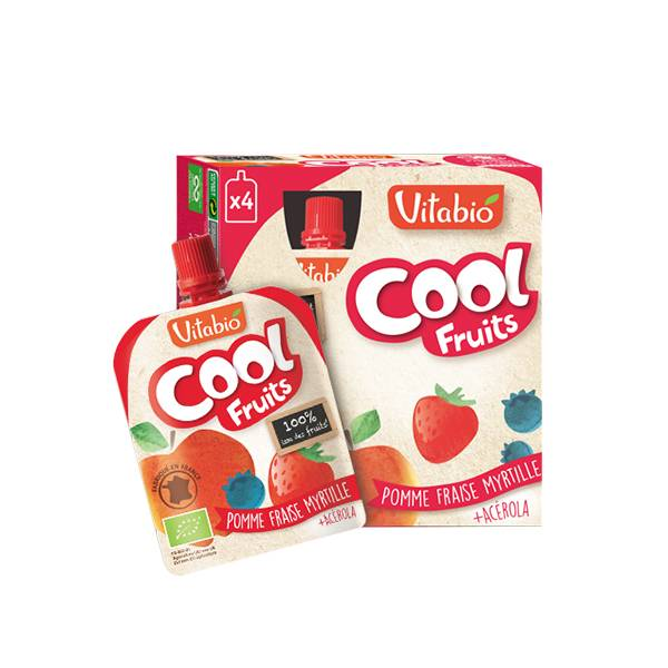 Vitabio Cool Fruits Pomme Fraise Myrtille + Acérola 4 x 90g