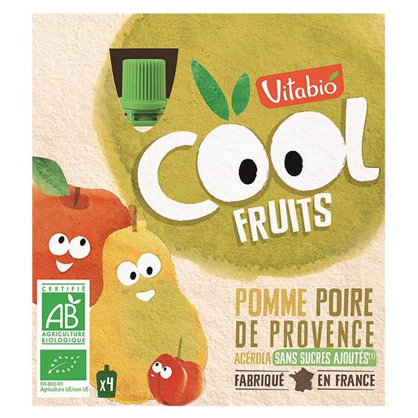 Vitabio Cool Fruits Pomme Poire Acérola Bio Lot de 4 x 90g