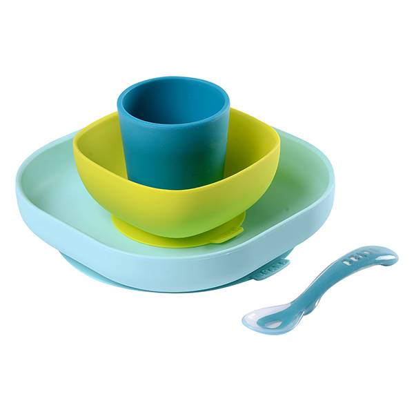 Béaba Coffret Repas Silicone 4 pièces Blue