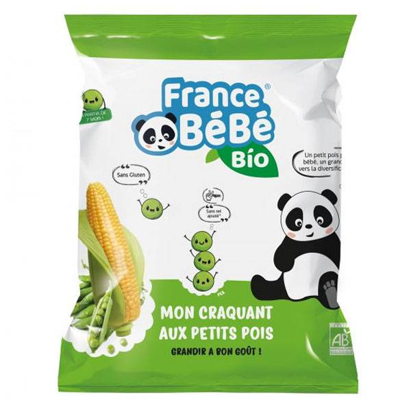 France Bébé Nutrition France Bébé Bio Mon Croquant Maïs Petits Pois 20g