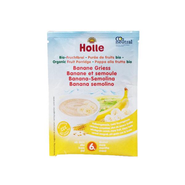 Holle Purée de Fruits Banane et Semoule Bio +6m 250g