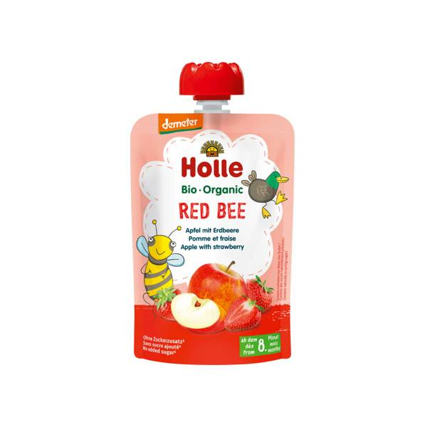 Holle Gourde Red Bee Pomme Fraise Bio +8m 100g