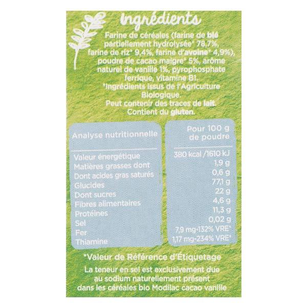 Modilac Mes Céréales Bio Cacao Vanille Dès 12 mois 250g