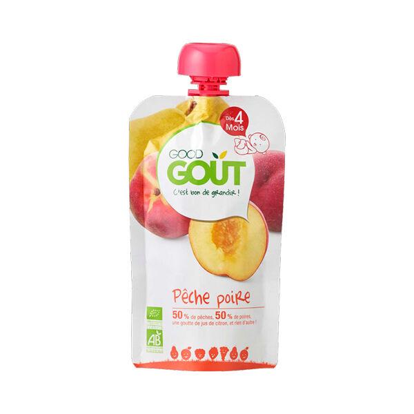 Good Goût Gourde Compote de Fruits Poire Pêche +4m Bio 120g