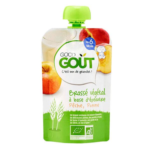 Good Goût Gourde Brassé Végétal à Base d'Épeautre Pomme Pêche Bio +6m Bio 90g