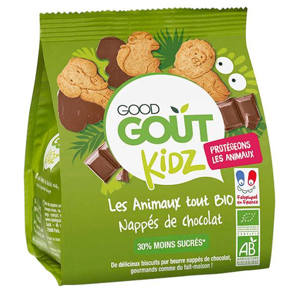 Good Gout Good Goût Kids Biscuits Animaux Nappés Chocolat Bio +3ans 120g
