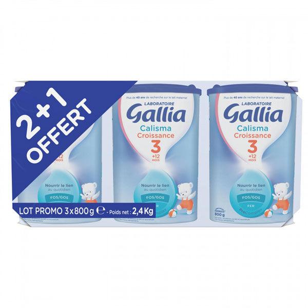 Gallia Calisma Croissance Pronutra+ Lait 3ème Age Lot de 2 x 800g + 1 Offert