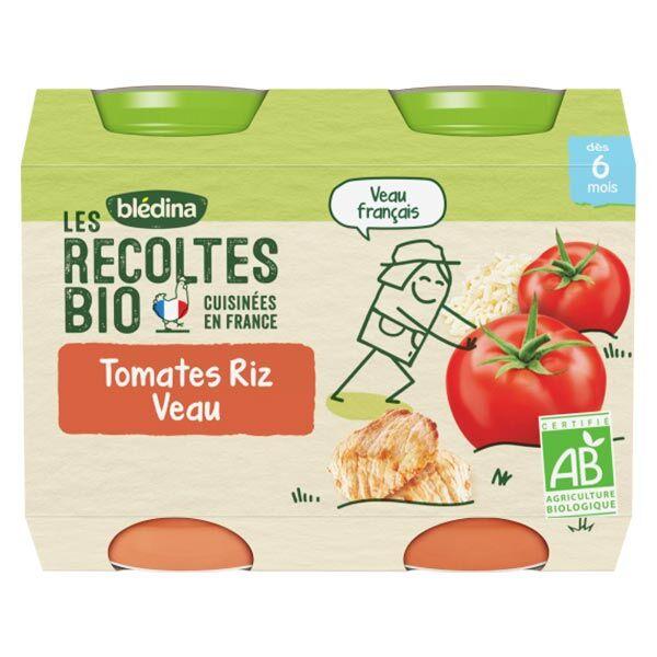 Blédina Les Récoltes Bio Pot Tomates Riz Veau +6m 2 x 200g