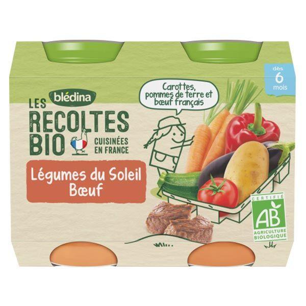 Blédina Les Récoltes Bio Pot Légumes du Soleil Boeuf +6m 2 x 200g