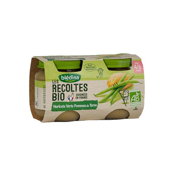 Blédina Les Récoltes Bio Pot Haricots Verts Pommes de Terre +4m 2 x 130g