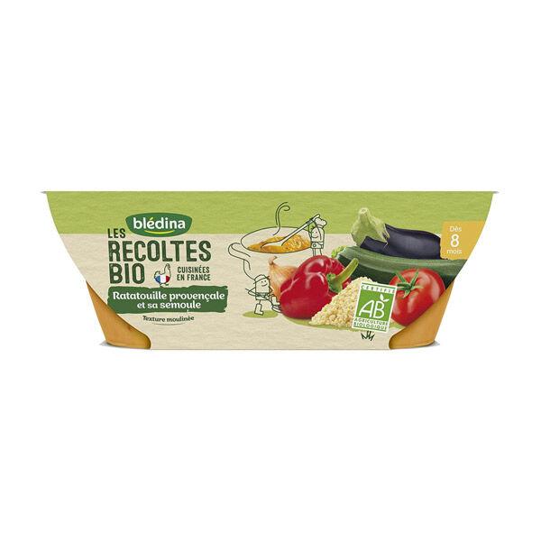 Blédina Les Récoltes Bio Bol Ratatouille Provençale Semoule +8m 2 x 200g