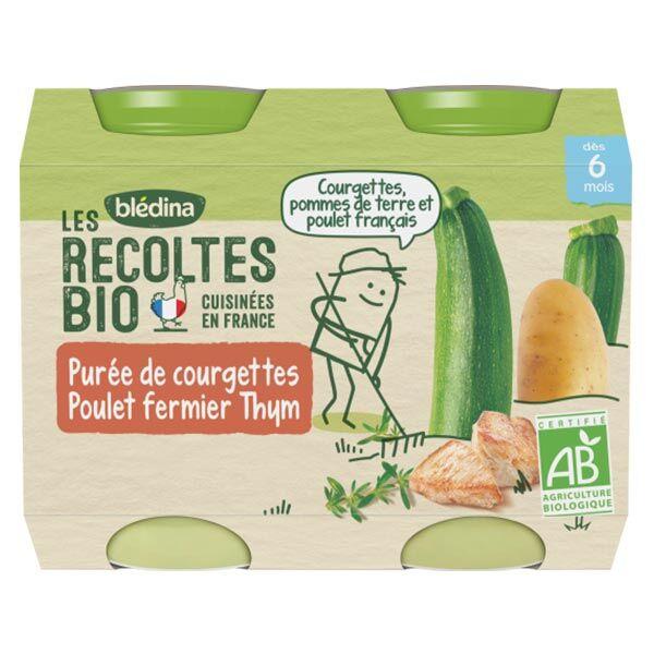 Blédina Les Récoltes Bio Pot Purée de Courgettes Poulet Fermier Thym +6m 2 x 200g
