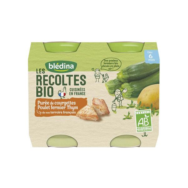 Blédina Récoltes Bio Purée de Courgettes Poulet Fermier Thym +6m 2 x 200g