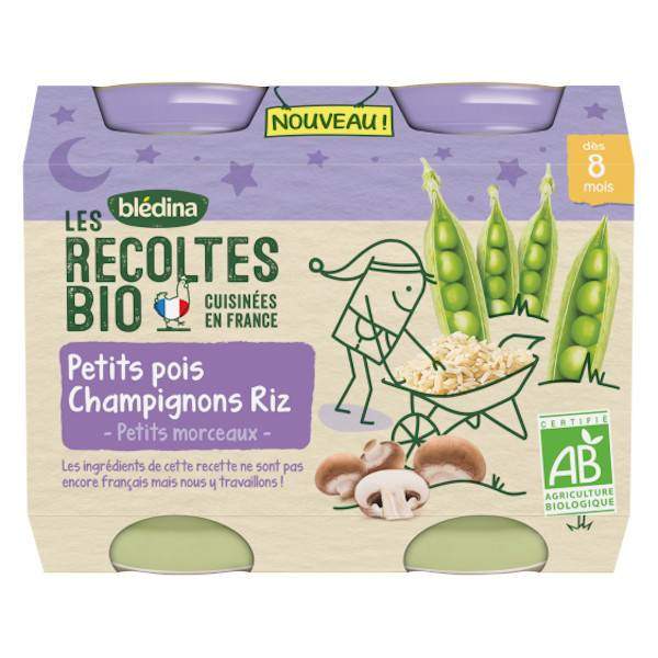 Blédina Les Récoltes Bio Pot Petits Pois Champignons Riz +8m 2 x 200g