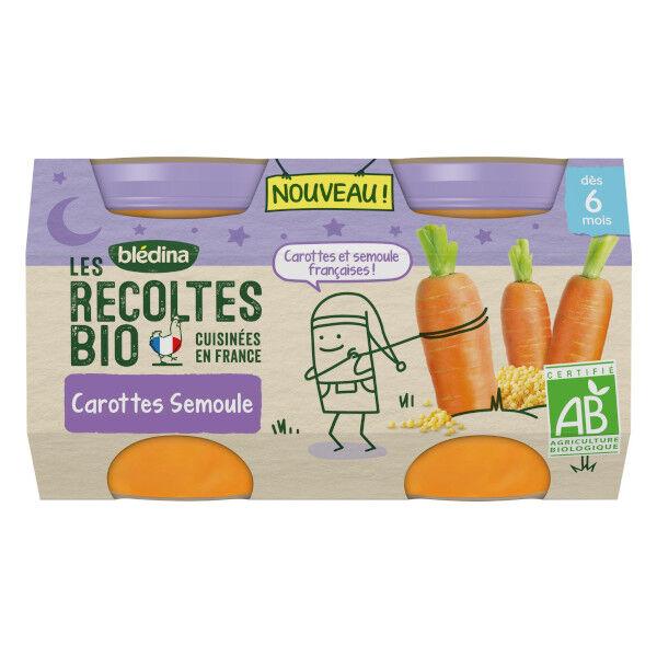 Blédina Les Récoltes Bio Pot Carottes Semoule +4m 2 x 130g