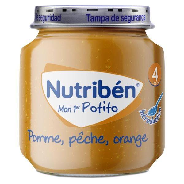 Nutriben Mon Premier Potito 4 mois Pomme Pêche Orange 120g