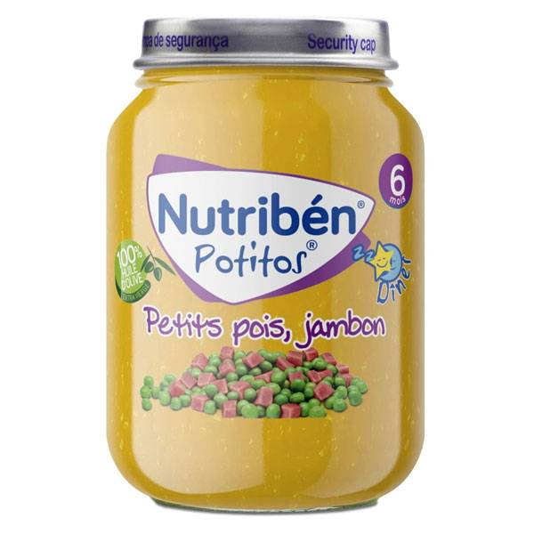 Nutriben Nutribén Potitos Dîner Petits Pois Jambon +6m 190g